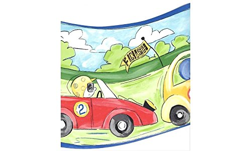 Curvy Race Cars Prepasted Wall Border Roll