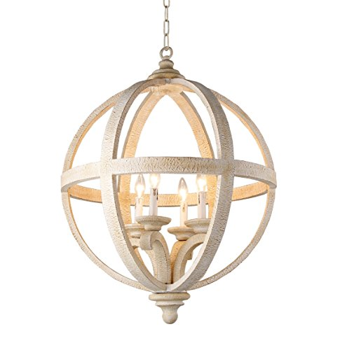 (Axel Orb Chandelier Modern, Transitional, Traditional 4 Light, Antique, Wood Frame Rustic (Dia 24.4 Inch))