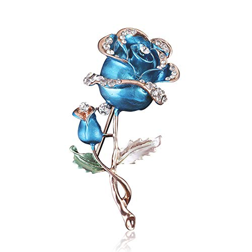 (Chili Jewelry Elegant Crystal Blooming Blue Rose Flower Brooch Pins for Women Girls)