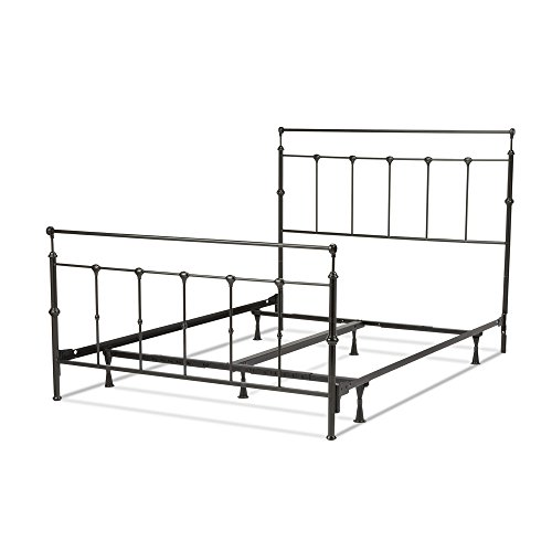 Leggett & Platt Winslow Complete Metal Bed and Steel Support Frame with Castings and Straight Top Rails, Mahogany Gold Finish, King ()