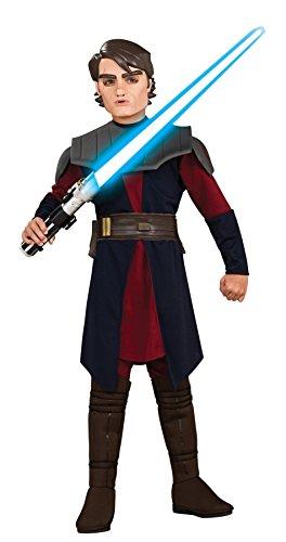 [UHC Boy's Anakin Skywalker Deluxe Kids Child Fancy Dress Party Halloween Costume, S (4-6)] (Young Anakin Costume)