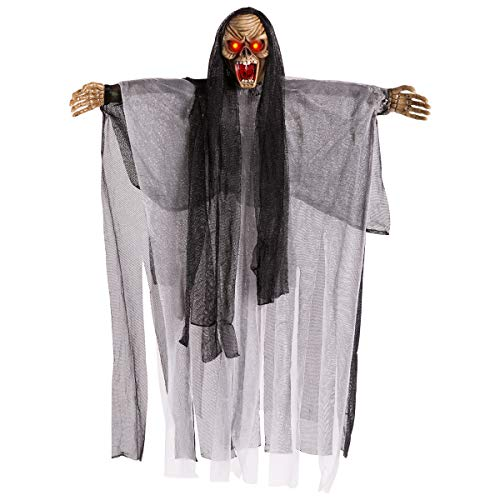 HollyHOME Hanging Halloween Decoration Animated Floating Ghoul Ghost Skeleton Face with Glowing Red Eyes Horrible Scary Light 18inch Black