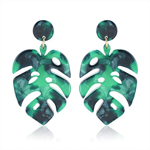 Acrylic Earrings For Women Girls Statement Palm Leaf Earrings Resin monstera Drop Dangle Earrings Fashion Jewelry (Green)