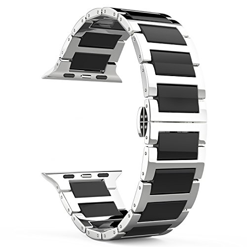 MoKo Band for Apple Watch Series 1 Series 2, Stainless Steel Ceramics Link Replacement Strap Bracelet with Butterfly Buckle Clasp for iWatch 42mm 2015 & 2016 All Models - BLACK (Not Fit iWatch 38mm)