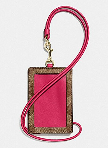 Coach Signature PVC Lanyard ID Badge Card Holder (Khaki/Bright Pink)