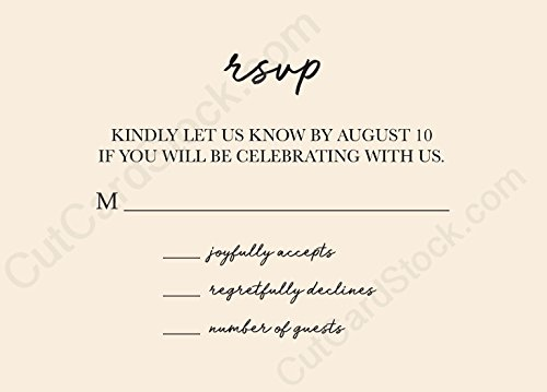 Custom Date Small Script Response Cards A1 RSVP Cards for Invites (Natural, 50 Cards)