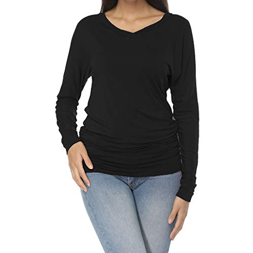 FIRERO Women Long Sleeve Round Neck Solid Casual Loose T Shirt Blouse Black