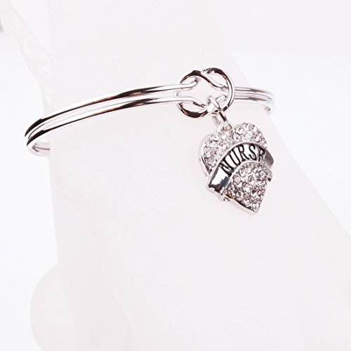 REEBOOO Nurse charm Nurse Gift Love Knot Cuff Bangle Bracelet Inspirational Jewelry Gift for Her (Silver-NURSE) by REEBOOO (Image #1)