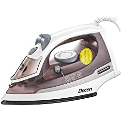 DECEN Clothes Iron, Steam Iron Non-Stick Smooth Soleplate, Self-Cleaning Irons with Variable Temperature and Steam Control, 3-Way Motion Smart Auto-Off Vertical Ironing, 1500W