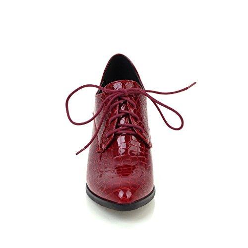 Show Shine Womens Stringate Le Scarpe Oxford Con Tacco Grosso Rosso
