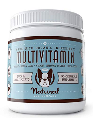 - Natural Dog Company - Daily Multivitamin Supplement for All Ages | Supports Healthy Coat, Strong Hip and Joints, with Omega 3s & Digestive Enzymes | Duck & Sweet Potato Chewable for Dogs - 90 Chews