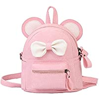 Cute colorful bear bag for girls and women kawaii backpack with big ears for outdoor (Pink)