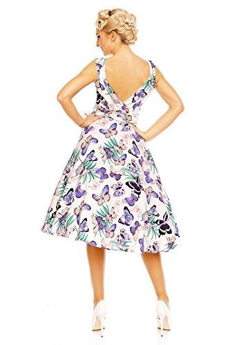 Looking Fête 1950 Papillon Gris Rétro Imprimé Évasé Robe Glam Vintage Rockabilly Années rZ01r
