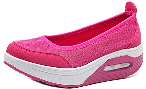 Plattform Dagdrivaren Skor Kvinnor, Mid-häl Andas Sneakers Tillfälligt Arbete Pumpar 5 Färger Storlek 5,5-8,5 Röd Ros