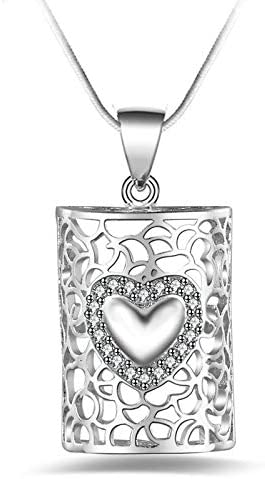 Davitu Heart Pendant Necklace Chain Simple Heartpendant Necklace 925 Sterling Silver for Women Necklace
