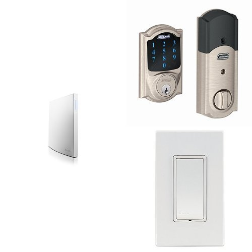 Wink Hub 2 with Schlage Connect BE469NX CAM 619 Touchscreen Deadbolt, Satin Nickel, and Leviton Z-Wave Switch, Works with Amazon Alexa