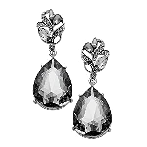 Rosemarie Collections Women's Glass Crystal Teardrop Statement Earrings (Hematite-Black Diamond)