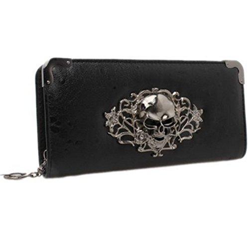 Hengsong Women Vintage Pu Leather Long Punk Zipper Skull Clutch Wallet Purse (Black) (Black Bag Chain Shoulder Link Leather)