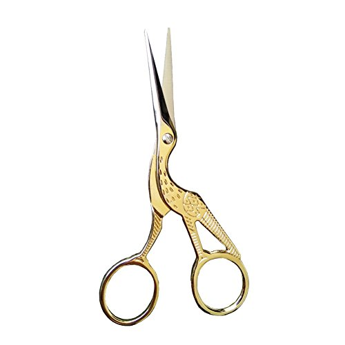 (Home Scissors 3.5 inch, Gold Stork Sewing Scissors Small Sharp for Crafting, Art Work, Threading, Needlework& Stainless Steel Tiny Detail Decorative Scissors for Office BROSHAN)