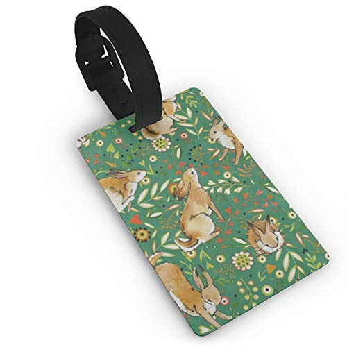 (Luggage Tags Travel ID Label Leather For Baggage Suitcase Green Bunny Rabbiter Leaf Easter Business Card Holder)