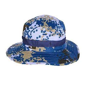 900455d0916 TOOGOO(R) Outdoor Fishing Camping Hiking Sun Cap Round Rim Brim Men Women  Hat Dark blue  Amazon.co.uk  Sports   Outdoors