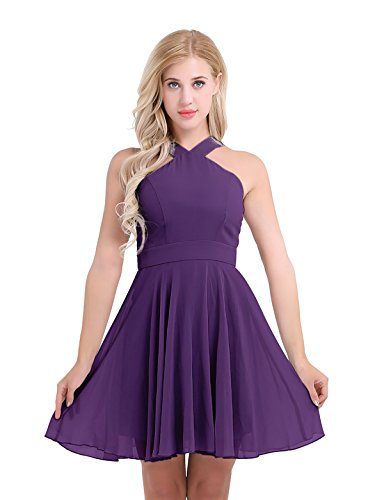 ACSUSS Women's Criss-Cross Straps Chiffon Evening Party Prom Gown Bridesmaid Short Dress Purple 14