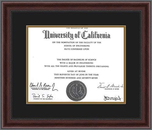 ArtToFrames 11x14 Diploma Frame, Framed in Mahogany and Burgundy with Beaded Lip, Double-Multimat-726-89/596-N9590