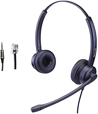 Amazon Com Telephone Headset With Noise Cancelling Microphone Work For Yealink Panasonic Snom Grandstream Jabra Compatible Including Extra 3 5mm Jack Office Products