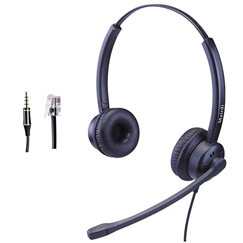 Telephone Headset with RJ9 Jack and Noise Cancelling Microphone for Call Centers Offices With Two Connectors RJ9 and 3.5mm Compatible with Avaya Nortel Aastra Toshiba Jabra and iPhone Samsung