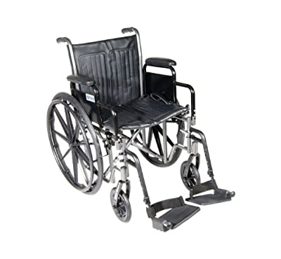 """Drive Medical Silver Sport 2 Wheelchair with Various Arms Styles and Front Rigging Options, Black, 18"""""""