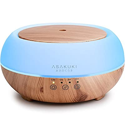 2017 ASAKUKI Premium Touch Sensitive, Essential Oil Diffuser, 300ML-5 In 1 Ultrasonic Aromatherapy Fragrant Oil Vaporizer , Purifies and Humidifies The Air, Auto-Off Safety Switch, 7 LED Light Colors