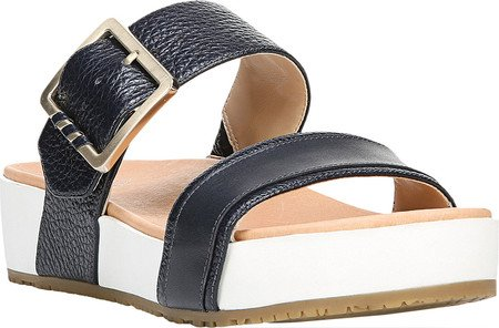 57311479ce6f Dr. Scholl s Original Collection Women s Frill Slide Sandal Navy Leather ...