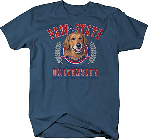 Paw State University Golden Retrievers Dog Puppy Family Tshirt - Medium Denim