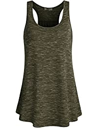 f3ac5a6ac77f6 Womens Sleeveless Scoop Neck Flowy Loose Fit Racerback Tank Top