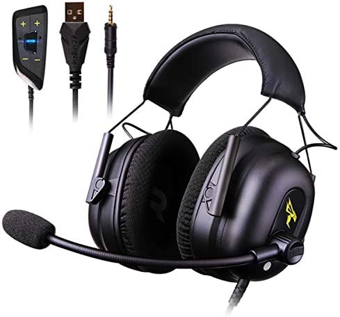 Vowor Over Ear Headphones 7.1 Surround Sound Gaming Headset Works with PC, PS4 PRO, Xbox One S Cell Phone SOMIC Active Noise Canceling with Mic HI-FI USB Jack Game Earphones G936N