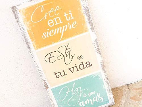 Cartel vintage de madera - Frases motivadoras - Cree en ti ...