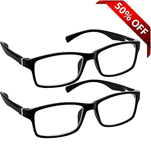 Black Computer Reading Glasses 2.50 _ Protect Your Eyes Against Eye Strain, Fatigue and Dry Eyes from Digital Gear with Anti Blue Light, Anti UV, Anti Glare, and are Anti Reflective