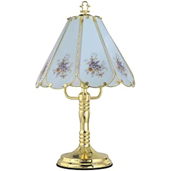 Park Madison Lighting PMT 1061 10 Touch Table Lamp With Floral Decorated  Captured Glass