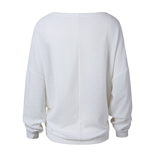Redondo Manga Blusa Sueltas Blanco Knit Jersey De Las Pullover Murciélago Camisa Linnuo Largas Camiseta Mujeres Cuello Con Mangas Sweater aY46xqw