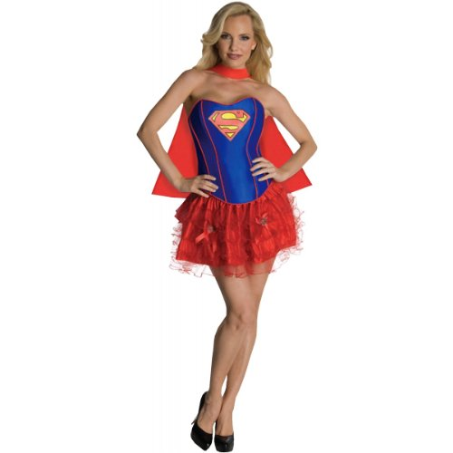 [Secret Wishes DC Comics Supergirl Corset And Tutu Costume, Red/Blue, X-Small] (Wonder Woman Red Corset)