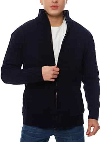 62e4b5cb4e4 APRAW Men s Casual Cardigan Sweaters Slim Full Zip Thick Knitted with  Pockets for Winter Outwear