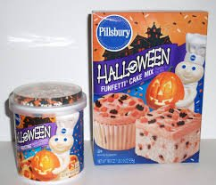 Halloween Funfetti Cupcake Bundle: 1 15.25oz pkg Funfetti Cake Mix, 1 15.6oz Funfetti Vanilla Icing and 1 set of 18 Witch Hat Cupcake Cups and (Cake Mix Halloween)