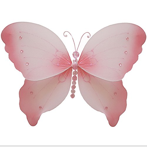 Hanging Butterfly Medium 10 Pink Crystal Nylon Mesh Butterflies Decorations Decorate Baby Nursery Bedroom, Girls Room Ceiling Wall Decor Wedding Birthday Party Baby Shower Bathroom Kid Child 3D Art