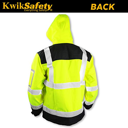 KwikSafety (Charlotte, NC) GALAXY Class 3 SoftShell Safety Jacket | ANSI Water Resistant Lightweight Reflective Hi Vis PPE Detachable Hood| Wind Rain Construction, Men Women Yellow | XX-Large by KwikSafety (Image #2)