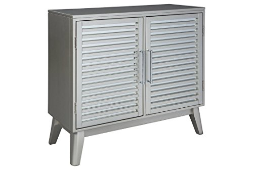 Ashley Furniture Signature Design - Senzernell 2-Door Accent Cabinet - Contemporary - Striped Pattern on Mirror Panel Doors - Silver Finish