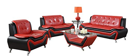 US Pride Furniture 2 Piece Modern Bonded Leather Sofa Set