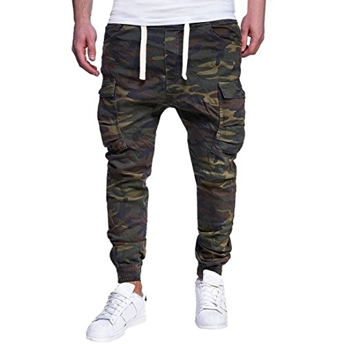 HTHJSCO Men's Slim Fit Cotton Twill Chino Jogger Pants, Men's Sport Camouflage Lashing Belts Casual Loose Sweatpants (Army Green, XXXXL) by HTHJSCO