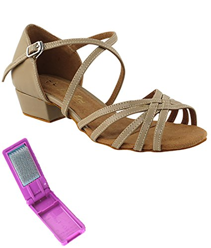 Very Fine Ballroom Salsa Practice Dance Shoes for Women 1670FT 1-Inch Heel + Foldable Brush Bundle Tan Leather