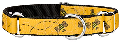 Country Brook Design Busy Bee Ribbon Martingale Dog Collar - Large
