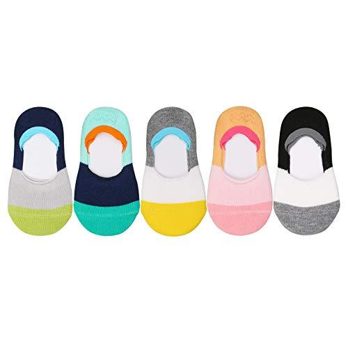 VWU Toddler Socks No Show Kids Baby Low Cut Cotton Socks Anti Slip 1-3/3-5Y (Color Block, 1-3 years old)]()